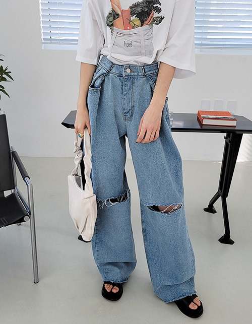 3-size hook destroyed denim
