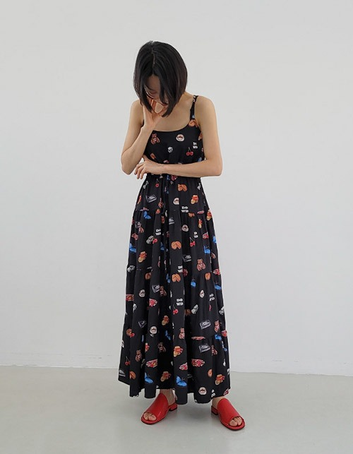 my favorite things pattern long dress(2 colors)