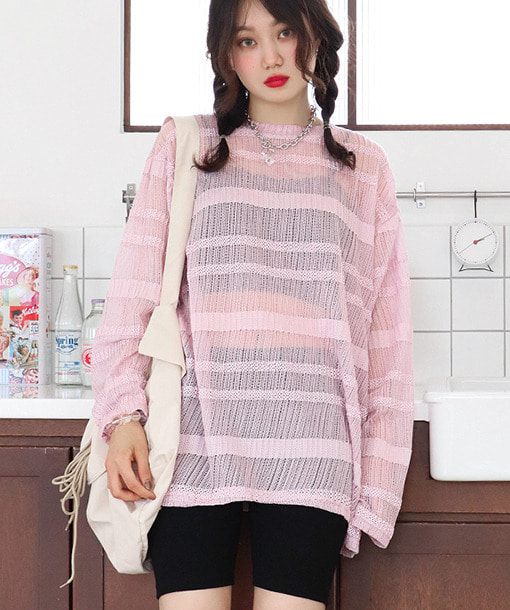 stripes net cool-knit (4 colors)